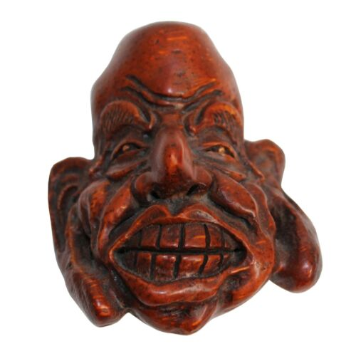Chinese Bamboo Carved Happy Man Face Display ws301