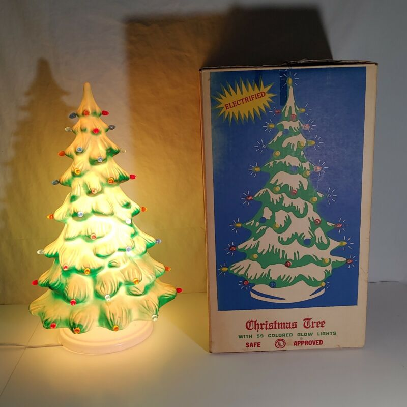"""1950s Union Products Electrified Blow Mold Christmas Tree in Orig Box- 21"""""""