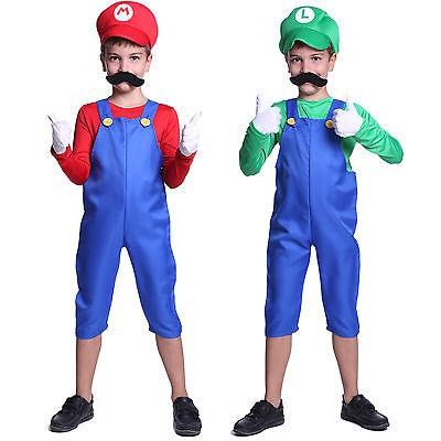 New Kids Super Mario Costume Teen Boys Clothes Fancy Dress Party Moustache Hat - Super Mario Kids Costume