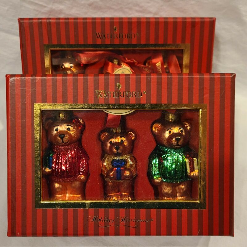 WATERFORD Holiday Heirlooms TEDDY BEAR Christmas Ornament SET OF 3 NEW in BOX