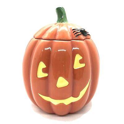 Hallmark Halloween Ceramic Pumpkin Candy Cookie Jar with Lid Excellent Condition
