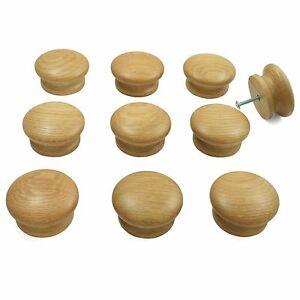10 x Oak Wooden Door / Drawer Knobs | Kitchen Cupboard Cabinets 55mm diameter