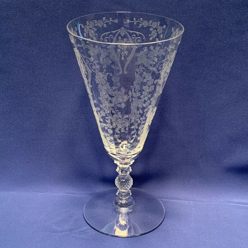 Vintage Elegant Cambridge Glass Crystal Diane Etched Footed Tumbler 12 Ounces