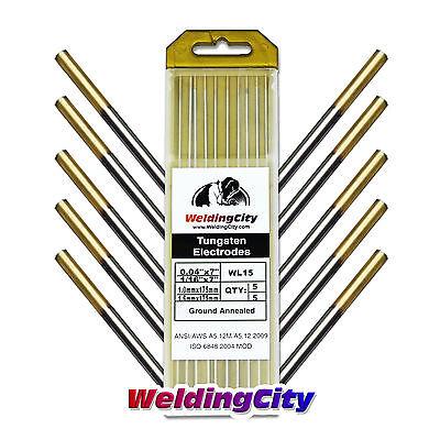 10-pk Tig Welding Tungsten Electrode 1.5 Lanthanated Gold 040-116 Us Seller