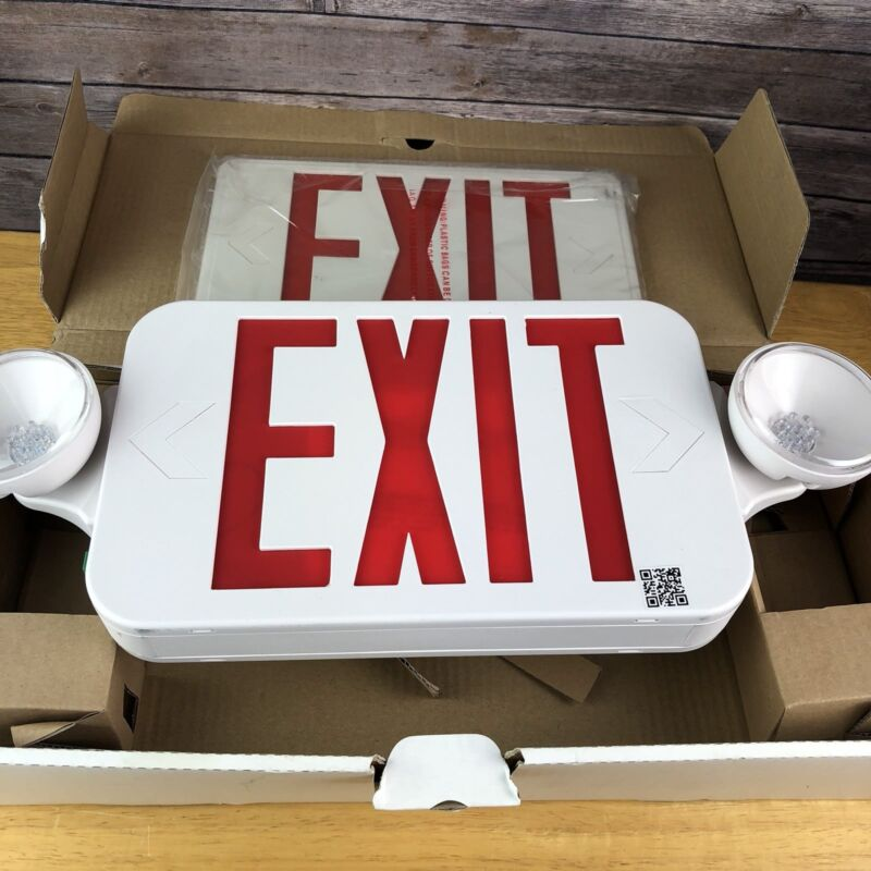 Morris Products Exit Sign Red Lights Double Face White New