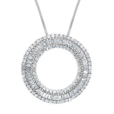 1.09 Ct White Baguette Cut Natural Diamond Circle Pendant Necklace 925 Sterling