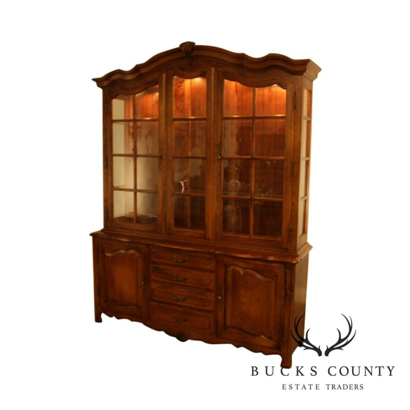 Ethan Allen Country French Breakfront China Cabinet