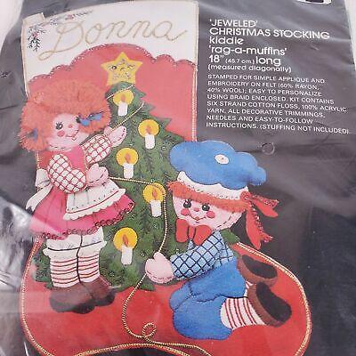 Bucilla Jeweled Christmas Stocking Kiddie Rag-A-Muffins Kit 48770 NEW