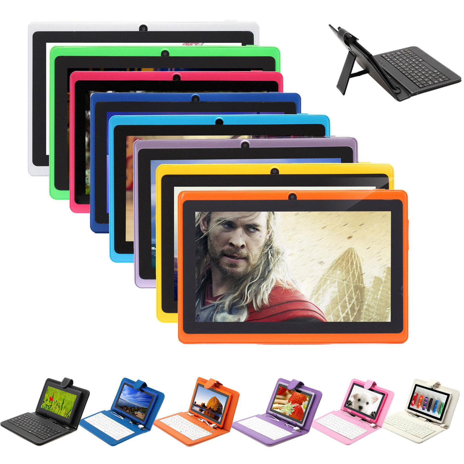 iRULU 7 GMS Capacitive HD New Tablet PC Android 6.0 Quad Core 8GB w/ Keyboard