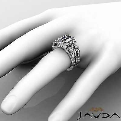 3 Row Shank Radiant Diamond Engagement Pave Ring GIA G Color SI1 Clarity 2.7 Ct 3