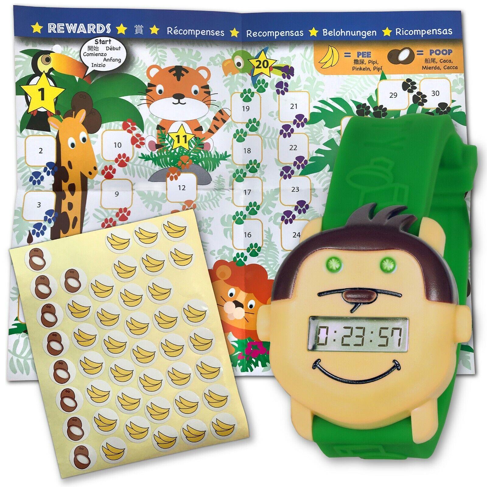 Potty Monkey Watch | Potty Training Reminder Watch w/ Colorful Fun Reward Chart