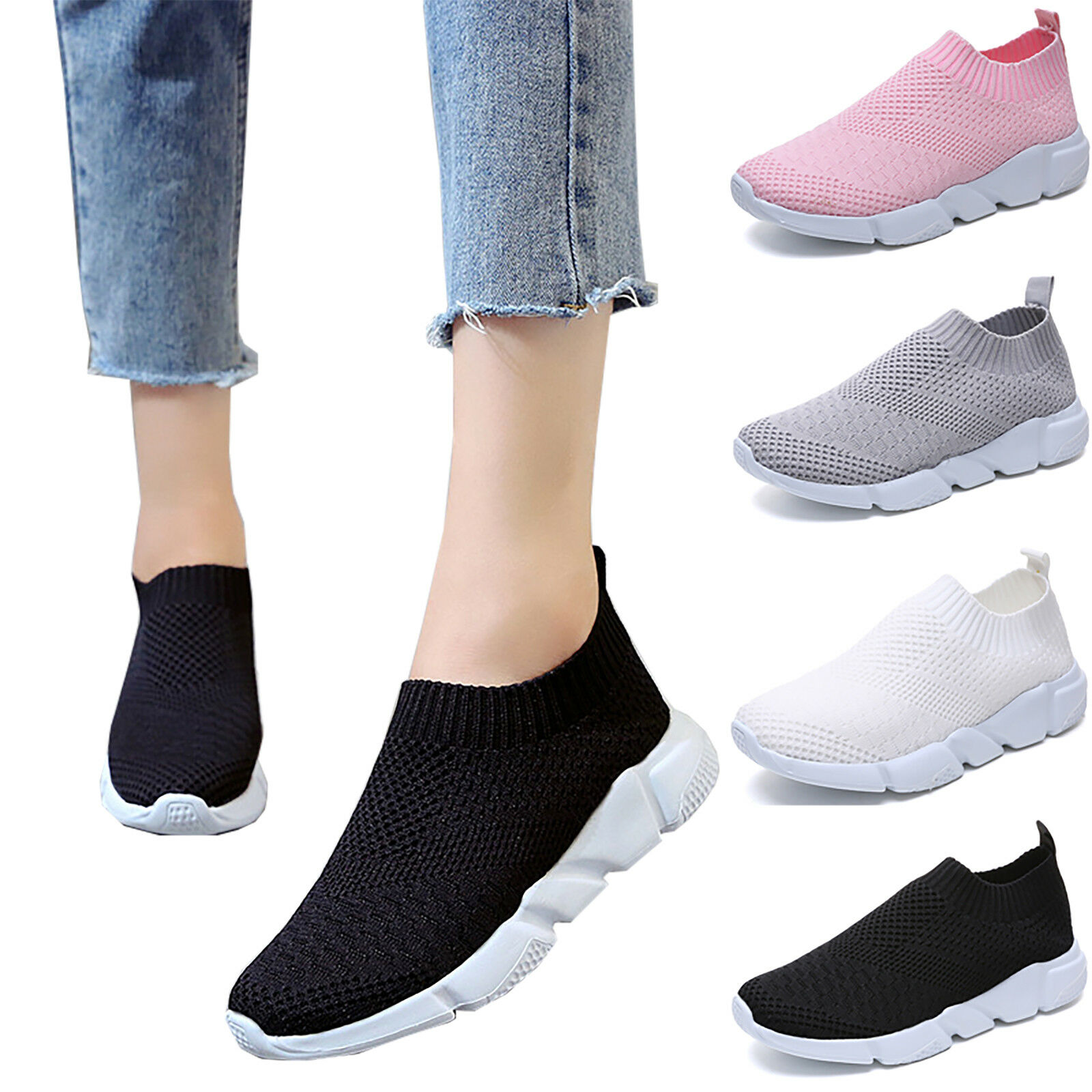 Women Sports Sneakers Lightweight Mesh Flats Breathable Walking Running Trainers