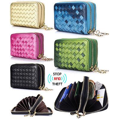 Women's RFID Block Genuine Leather Secure Credit Card Holder Zip Around Wallet