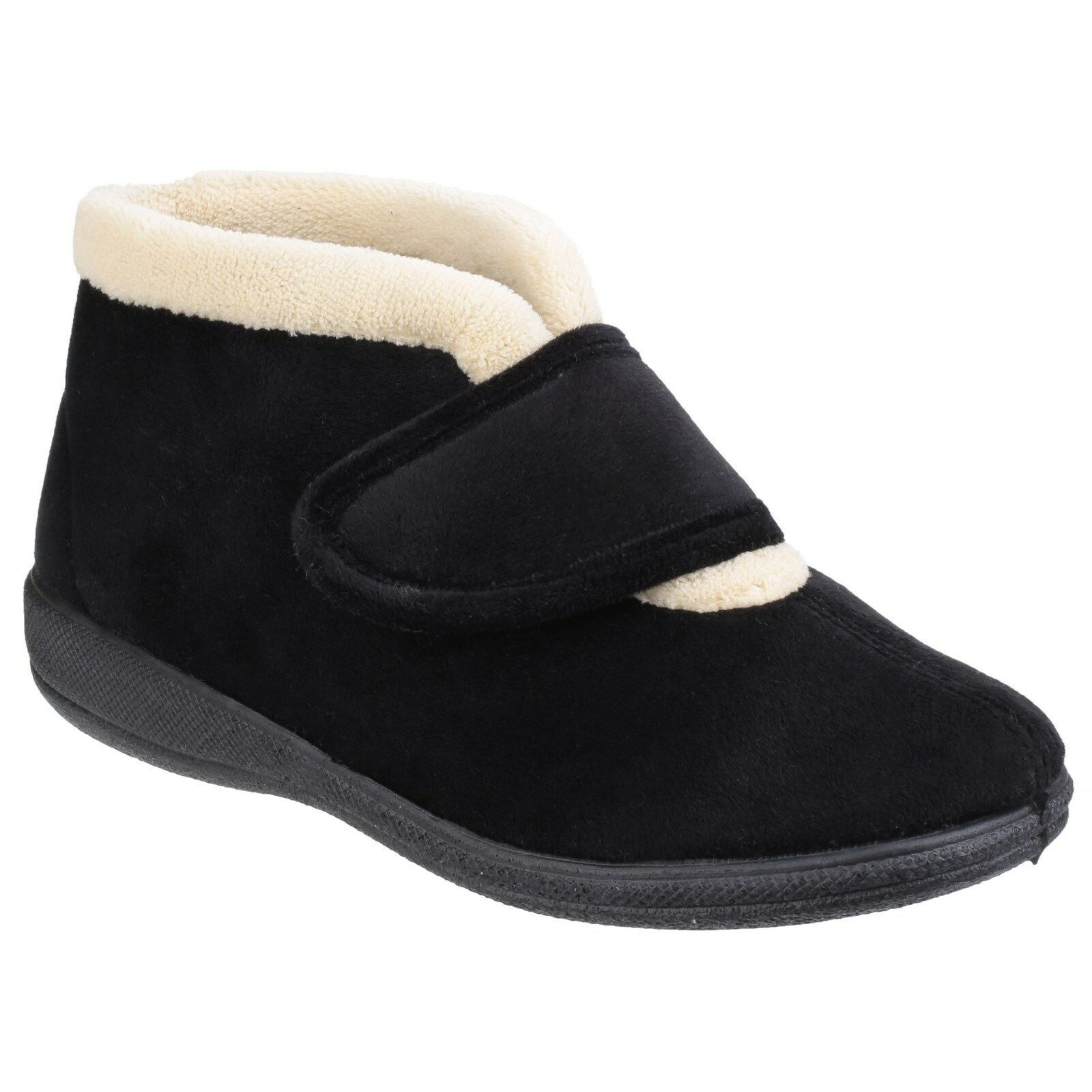 Ladies Sleepers Lucy Microfibre V Throat Touch Fastening Memory Foam Slippers