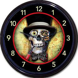 Steampunk Skeleton Skull Gothic Goth Wall Clock Top Hat Victorian Vintage New