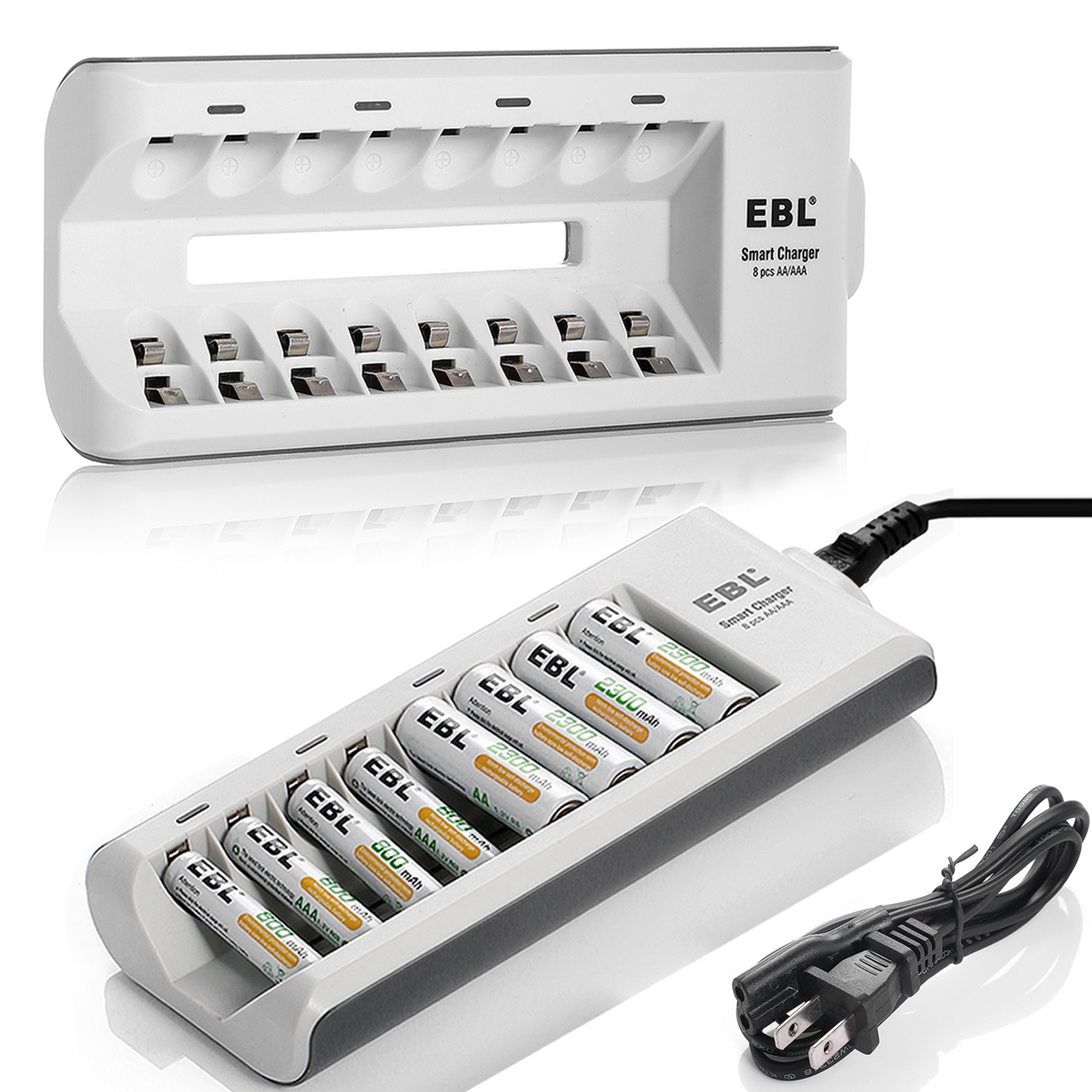 EBL 8 Slot Battery Charger For NiMH NiCD AA AAA Rechargeable Batteries