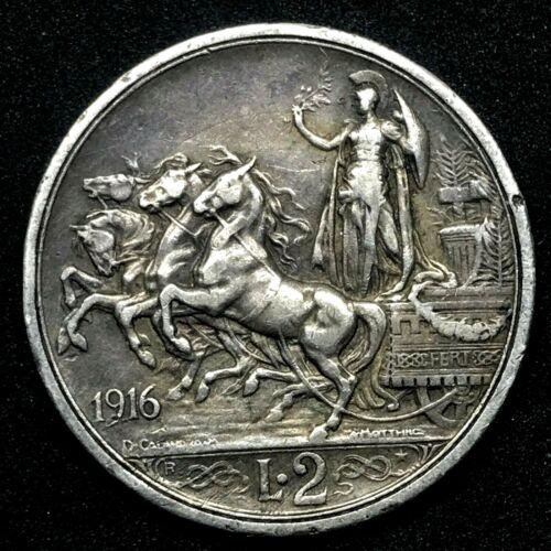 1916 - Italy 2 Lire -  Rome - Victor-Emmanuel III Silver Coin KM#55