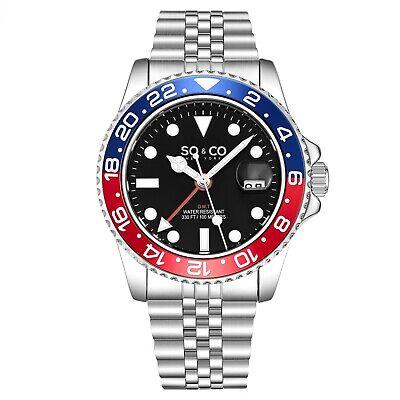 SO&CO Aqua-Diver Swiss Quartz Men's Silver Jubilee Bracelet Black Dial Watch