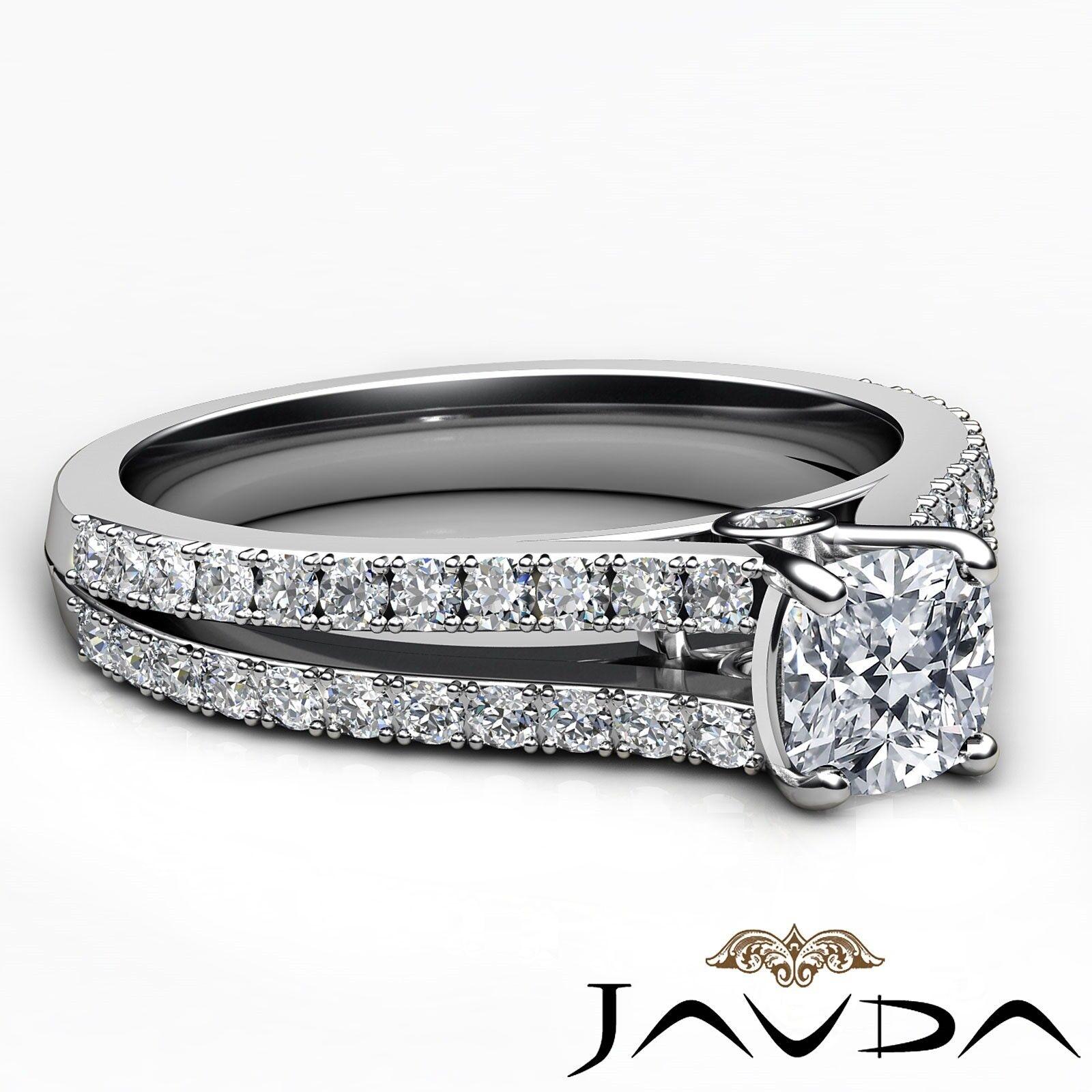 1.29ctw Double Prong Split Shank Cushion Diamond Engagement Ring GIA H-VS2  Gold 5