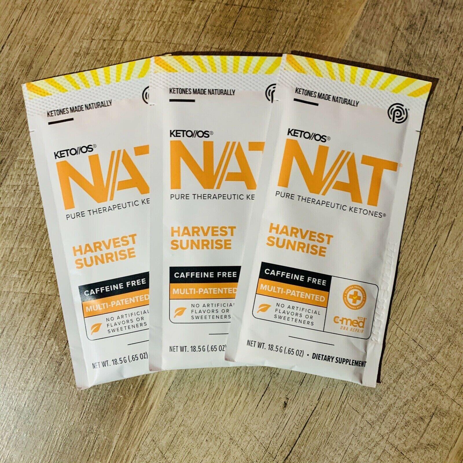 Pruvit Keto OS NAT Ketones Limited Release Harvest Sunrise 3 Pack *Caffeine Free
