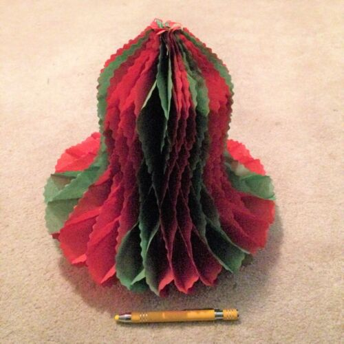 Vintage honeycomb Christmas red & green bell