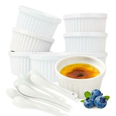 Souffle Dish Ramekins for Baking – 6 Ounce (Set of 8, White with 8 Extra Spoons)