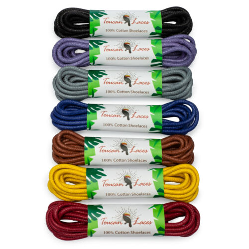Toucan Laces - Dress Shoe Laces 7 Colors Wax Cotton Shoelaces for Oxford Shoes
