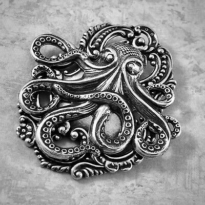 OCTOPUS BROOCH PIN Sterling Silver plt NAUTICAL PIRATE HAT PIN Steampunk Jewelry