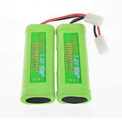 2 pcs 7.2V 3800mAh Ni-Mh rechargeable battery pack RC w/ Tamiya Plug USA