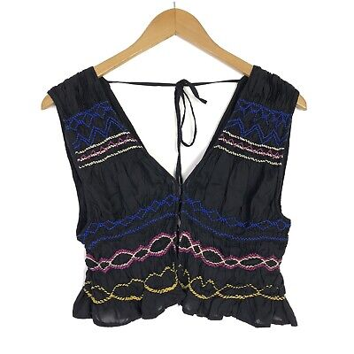 Free People Womens Size M Embroidered Sleeveless Crop Blouse Top Boho