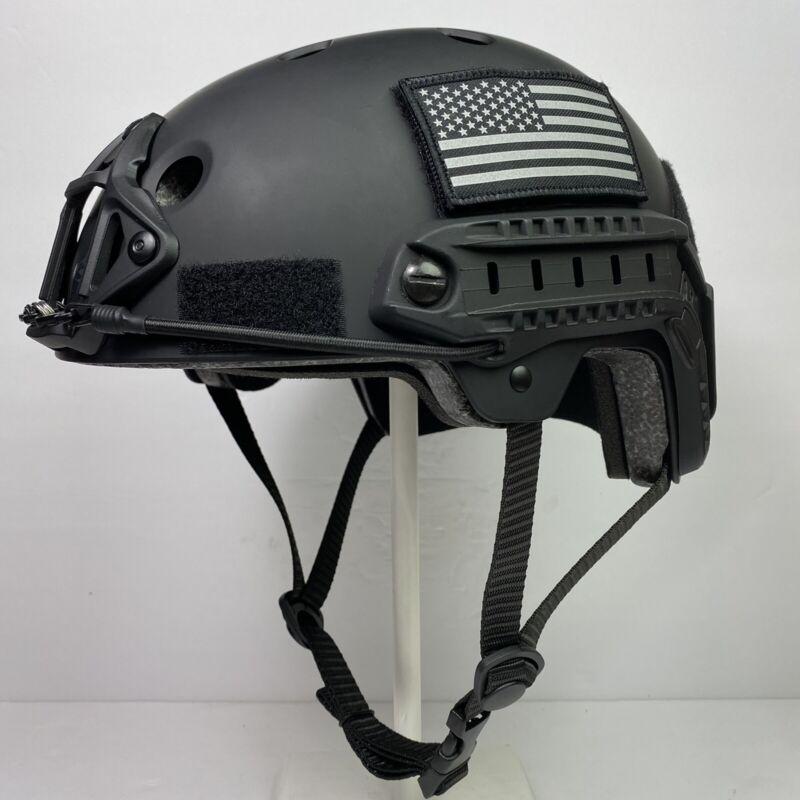 Large Black Tactical Combat Bump Helmet Climbing Rafting BMX Biking NVG Rails