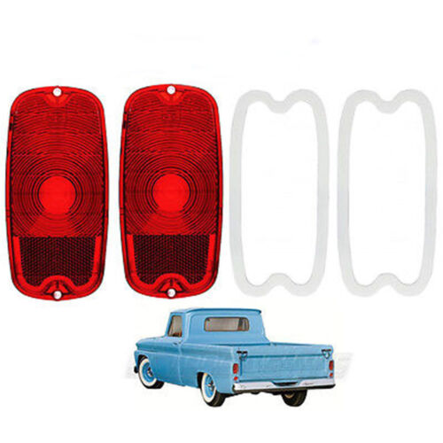 60 61 62 63 64 65 66 Chevy GMC Fleetside Truck Tail Light Lenses & Gaskets Pair