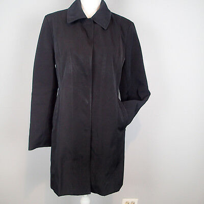 Anne Klein S Coat Black Trench Rain Jacket Lined D5