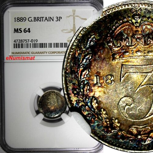 GREAT BRITAIN Victoria Silver 1889  3 Pence NGC MS64 RAINBOW TONED KM# 758