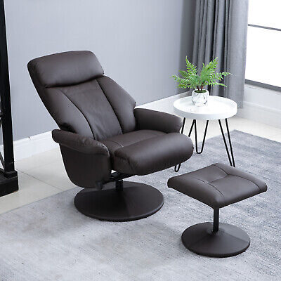 HOMCOM Swivel Recliner armchair with Foot ottoman Faux Leather Brown