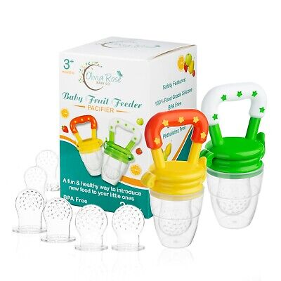 Baby Fruit Feeder Pacifier (2 Pack) | Infant Silicone Teething Toy | Fresh Food