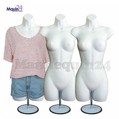 3 Pack Female Mannequin Torso Body Form 3 Stands 3 Hooks -women Hanging Display