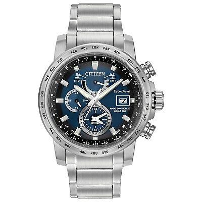 - Citizen Eco-Drive Men's World Time Blue Dial Silver-Tone 44mm Watch AT9070-51L