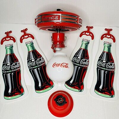 """Vintage Coca Cola Bottle Logo Advertising Ceiling Fan 44"""" with Light and Tested"""
