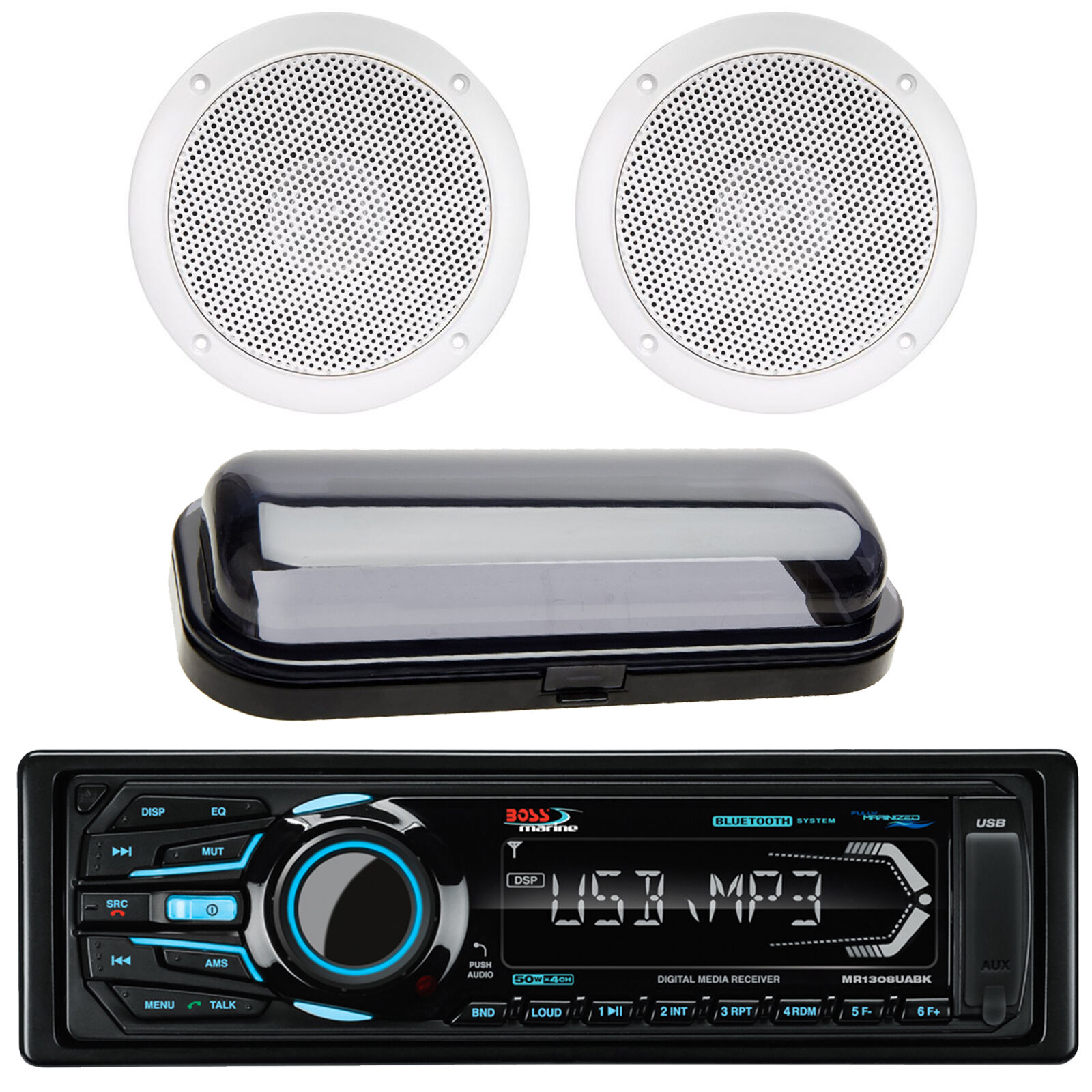 """BOSS Boat Mechless AM/FM MP3 Bluetooth Player + 5"""" 25W Speaker + Cover"""