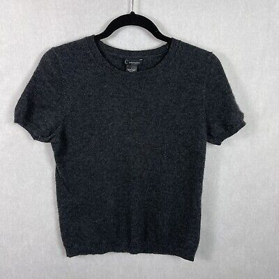 C By Bloomingdales Cashmere Sweater Short Sleeve Charcoal Gray Size Large
