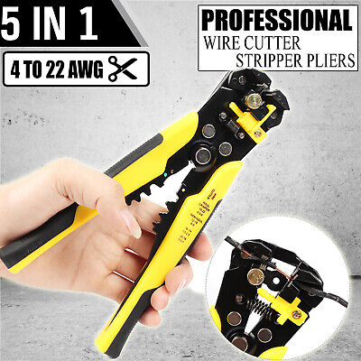 Self Adjusting Cable Cutter Crimper Automatic Wire Stripping Tool Pliers