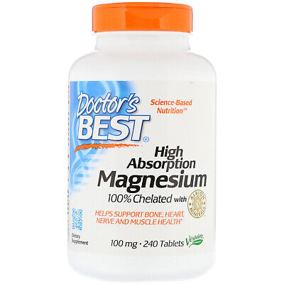 Doctor's Best, High Absorption Magnesium, 100% Chelated,  240