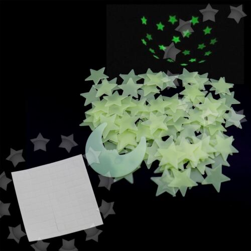Home Decoration - Yellow 100 Pieces 3D Home Wall Ceiling Glow In The Dark Stars with Moon Stickers