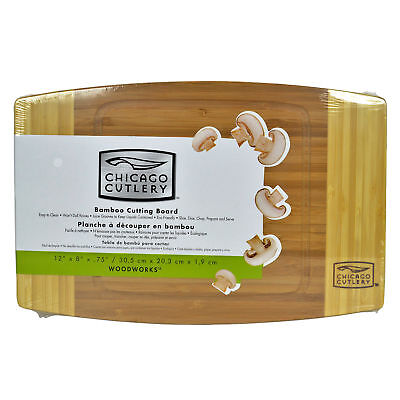 """Chicago Cutlery Woodworks 12"""" x 8"""" x 3/4"""" Reversible Bamboo Cutting Board New - Chicago Cutlery Cutting Board"""