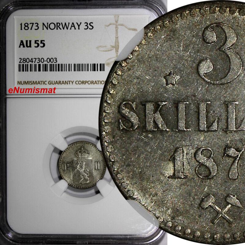 Norway Oscar II Silver 1873 3 Skilling NGC AU55 SCARCE 2 YEAR STRUCK KM# 338.2