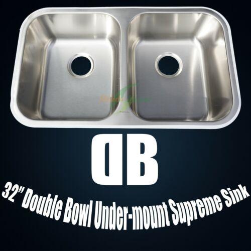 "32"" Double 50/50 Bowl Undermount Kitchen Sink - 304 Stainless Steel"