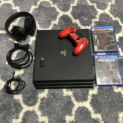 Ps4 Pro 1TB Bundle With Games, Wireless Headset And Magma Red Controller