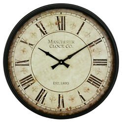 Large Wall Clock Farmhouse Antique Look Distressed Rustic Classic Vintage Decor