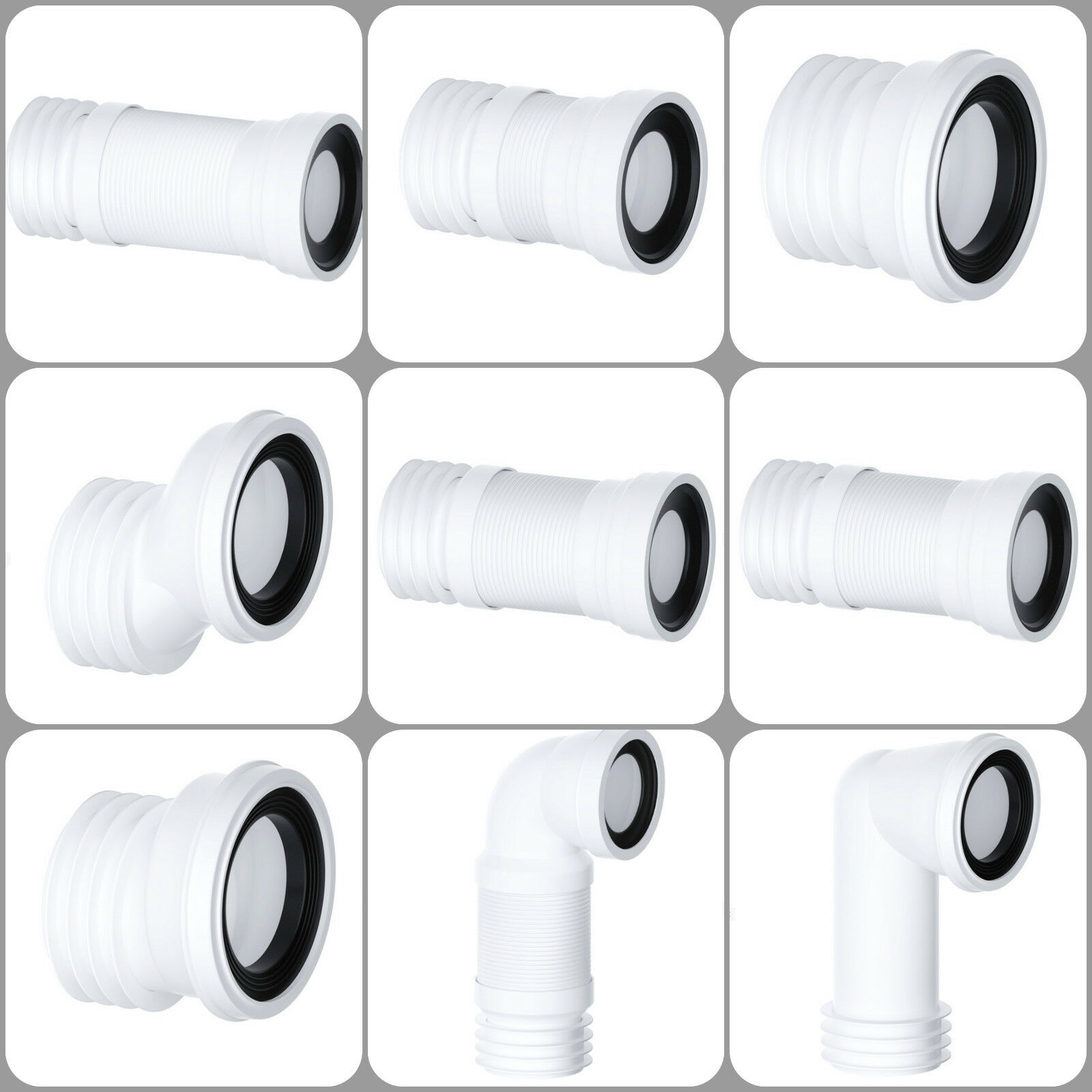 Details about Pan Connector VIVA WC Toilet Soil Pipe Flexible / Straight /  All Sizes - VIVA